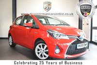 USED 2016 65 TOYOTA YARIS 1.5 HYBRID EXCEL 5DR 73 BHP * NO ADMIN FEES * FINISHED IN STUNNING RED WITH BLACK HALF LEATHER INTERIOR + SATELLITE NAVIGATION + BLUETOOTH + REAR-VIEW CAMERA + PARKING SENSORS + CRUISE CONTROL + AUX/USB MEDIA + DAB RADIO + ELECTRIC MIRRORS + 16 INCH ALLOY WHEELS