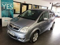 USED 2007 07 VAUXHALL MERIVA 1.6 DESIGN 16V 5d 100 BHP Two owners, full Vauxhall service history- 11 stamps, July Mot but supplied with 12 months. Finished in Silver Lightning with Black cloth seats.