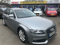 USED 2008 08 AUDI A4 1.8 TFSI SE 4d 160 BHP IN METALLIC SILVER WITH 75,000 MILES WITH A FULL SERVICE HISTORY APPROVED CARS AND FINANCE ARE PLEASED TO OFFER THIS, AUDI A4 1.8 TFSI SE 4 DOOR 160 BHP IN METALLIC SILVER WITH 75,000 MILES WITH A FULL SERVICE HISTORY AT 6K, 12K, 32K, 45K, 64K AND 72K. THIS VEHICLE HAS A GOOD SPEC SUCH AS ALLOY WHEELS, ELECTRIC WINDOWS, AIR CON, BLUETOOTH, AND MUCH MORE. THIS IS A PERFECT FAMILY SALOON VEHICLE, THIS CARS NOT TO BE MISSED