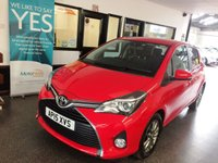USED 2015 15 TOYOTA YARIS 1.4 D-4D ICON 5d 90 BHP One lady owner from new, Full Toyota service history- 2 stamps, March 2020 Mot. Finished in Super Red with Black cloth seats.