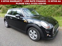 USED 2016 65 MINI HATCH ONE 1.2 ONE 3d 101 BHP All retail cars sold are fully prepared and include - Oil & filter service, 6 months warranty, minimum 6 months Mot, 12 months AA breakdown cover, HPI vehicle check assuring you that your new vehicle will have no registered accident claims reported, or any outstanding finance, Government VOSA Mot mileage check. Because we are an AA approved dealer, all our vehicles come with free AA breakdown cover and a free AA history check.. Low rate finance available. Up to 3 years warranty available.