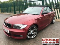 USED 2012 62 BMW 1 SERIES 2.0 118D SPORT PLUS EDITION 2d 141 BHP CONVERTIBLE LEATHER FSH CONVERTIBLE. STUNNING RED MET WITH FULL BEIGE LEATHER SPORTS TRIM. HEATED SEATS. CRUISE CONTROL. 18 INCH ALLOYS. COLOUR CODED TRIMS. PARKING SENSORS. BLUETOOTH PREP. CLIMATE CONTROL WITH AIR CON. 6 SPEED MANUAL. R/CD PLAYER. MFSW. MOT 04/20. SERVICE HISTORY. SUV & 4X4 CAR CENTRE LS23 7FR. TEL 01937 849492. OPTION 2