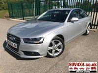 USED 2012 12 AUDI A4 SE TDI CRUISE FSH STUNNING SILVER MET WITH BLACK CLOTH TRIM. CRUISE CONTROL. 17 INCH ALLOYS. COLOUR CODED TRIMS. PARKING SENSORS. BLUETOOTH PREP. CLIMATE CONTROL WITH AIR CON. TRIP COMPUTER. R/CD PLAYER. MFSW. MOT 12/19. FULL SERVICE HISTORY. SUV & 4X4 CAR CENTRE LS23 7FR. TEL 01937 849492. OPTION 2