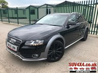 USED 2010 60 AUDI A4 ALLROAD 2.0 ALLROAD TDI QUATTRO 5d 168 BHP 4WD. STUNNING BLACK MET WITH BLACK CLOTH TRIM. CRUISE CONTROL. 18 INCH BLACK ALLOYS. COLOUR CODED TRIMS. PRIVACY GLASS. PARKING SENSORS. BLUETOOTH PREP. CLIMATE CONTROL WITH AIR CON. TRIP COMPUTER. R/CD PLAYER. MFSW. ROOF BARS. MOT 04/20. SERVICE HISTORY. PRESTIGE SUV CENTRE LS24 8EJ. TEL 01937 849492 OPTION 1