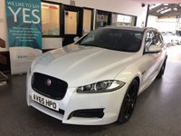 USED 2015 65 JAGUAR XF 2.2 D R-SPORT BLACK SPORTBRAKE 5d AUTO 200 BHP This XF/X250 R Sport 200 BHP Estate is finished in Glacier White, gloss black wheels along with full Black Heated electric memory leather seats. It is fitted with power steering, Jag Satellite Navigation/Reverse Camera/Phone, LED Day Lights, Bi Xenon lights, automatic gearbox with paddle shift option,  electric windows and mirrors, climate control, cruise control, telephone, front & rear parking sensors, alloy wheels, Meridian Sound Upgrade with DAB/ DVD - CD Stereo with Aux port and more.