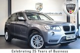 """USED 2013 62 BMW X3 2.0 XDRIVE20D SE 5DR 181 BHP full service history * NO ADMIN FEES * FINISHED IN STUNNING SPACE METALLIC GREY WITH FULL BLACK LEATHER INTERIOR + FULL SERVICE HISTORY + BLUETOOTH + PANORAMIC ROOF + REAR CAMERA WITH TOP VIEW + XENON LIGHTS + HEATED SEATS + DAB RADIO + LIGHT PACKAGE + CRUISE CONTROL + AUTO AIR CON + PARKING SENSORS + 17"""" ALLOY WHEELS"""
