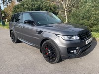 """USED 2014 14 LAND ROVER RANGE ROVER SPORT 3.0 SDV6 HSE DYNAMIC 5d AUTO 288 BHP GREAT COLOUR SCHEME IN CORRIS GREY 22"""" GLOSS BACK ALLOYS FULL BLACK AND GREY LEATHER 52000 FSH"""
