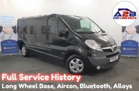 2014 VAUXHALL VIVARO 2.0 CDTI SPORTIVE 2900 Long Wheel Base in Black with Full Service History, Air Conditioning, Bluetooth, Alloy Wheels, AUX & USB £6680.00