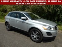 USED 2013 13 VOLVO XC60 2.4 D4 SE LUX AWD 5d AUTO 161 BHP All retail cars sold are fully prepared and include - Oil & filter service, 6 months warranty, minimum 6 months Mot, 12 months AA breakdown cover, HPI vehicle check assuring you that your new vehicle will have no registered accident claims reported, or any outstanding finance, Government VOSA Mot mileage check. Because we are an AA approved dealer, all our vehicles come with free AA breakdown cover and a free AA history check.. Low rate finance available. Up to 3 years warranty available.