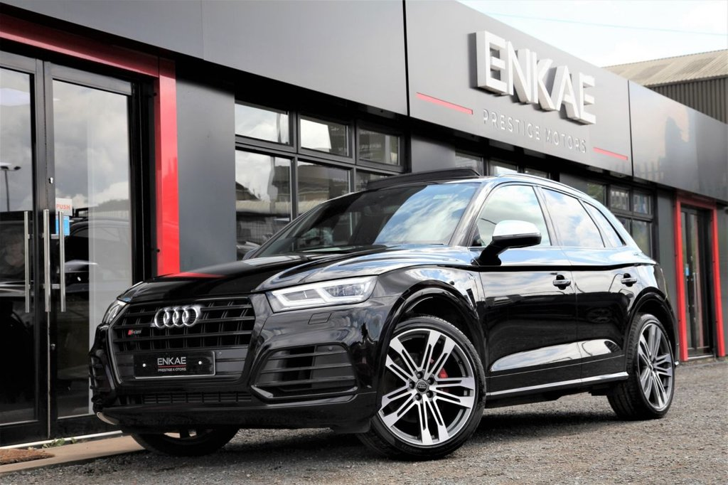 "USED 2017 17 AUDI SQ5 3.0 SQ5 TFSI QUATTRO 5d AUTO 349 BHP PAN ROOF*B&O*REV CAM*VIRTUAL21"" ALLOYS*FRONT AND REAR PARKING SENSORS*JET WASHERS*ELECTRIC HEATED FOLDING MIRRORS*PRIVACY GLASS*REVERSING CAMERA*MULTI FUNCTIONAL STEERING WHEEL*PADDLE SHIFT*SPEED LIMITER*BANG & OLUFSEN*ELECTRIC HEATED SEATS*"