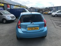 USED 2015 65 NISSAN NOTE 1.2 ACENTA PREMIUM DIG-S 5d AUTO 98 BHP IN METALLIC BLUE WITH A FULL SERVICE HISTORY AND ONLY 50,000 MILES ON THE CLOCK APPROVED CARS AND FINANCE ARE PLEASED TO OFFER THIS NISSAN NOTE 1.2 ACENTA PREMIUM DIG-S 5 DOOR AUTOMATIC 98 BHP IN METALLIC BLUE WITH ONLY 50,000 MILES ON THE CLOCK WITH A FULL SERVICE HISTORY. THIS VEHICLE HAS A GREAT SPEC SUCH AS BLUETOOTH, SAT NAV, ELECTRIC WINDOWS, ALLOY WHEELS AND MUCH MORE. THIS IS A VERY PRETTY NISSAN NOTE WITH A FULL SERVICE HISTORY WHICH HAS BEEN WELL LOOKED AFTER, AND NOT A VEHICLE TO BE MISSED.