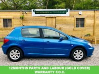 USED 2002 02 PEUGEOT 307 1.6 RAPIER 5d 108 BHP SUPERB EXAMPLE LOOKS AND DRIVES SUPERB AND COMES WITH A FULL SERVICE A BRAND NEW NEW MOT AND 12 MONTHS PARTS AND LABOUR GUARANTEE. Finished bright metalic blue with air con, air conditioned glove box, sports seats, very low insurance and good miles per gallon, This really is a lovely car that needs to be seen. Recent timing belt changed at 102,213 in 2018.