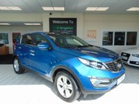 USED 2013 13 KIA SPORTAGE 1.7 CRDI 2 5d 114 BHP ONE OWNER + FULL SERVICE HISTORY + FULL MOT + BLUETOOTH + PANORAMIC SUNROOF + AIR CONDITIONING + CRUISE CONTROL + ALARM + CD RADIO + ALLOYS + REMOTE CENTRAL LOCKING + PRIVACY GLASS + METALLIC LIGHT BLUE + HALF LEATHER TRIM  +