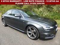USED 2014 64 AUDI A4 2.0 TDI BLACK EDITION 4d 174 BHP All retail cars sold are fully prepared and include - Oil & filter service, 6 months warranty, minimum 6 months Mot, 12 months AA breakdown cover, HPI vehicle check assuring you that your new vehicle will have no registered accident claims reported, or any outstanding finance, Government VOSA Mot mileage check. Because we are an AA approved dealer, all our vehicles come with free AA breakdown cover and a free AA history check.. Low rate finance available. Up to 3 years warranty available.