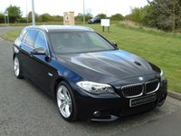 "USED 2012 12 BMW 5 SERIES 2.0 520D M SPORT TOURING 5d AUTO 181 BHP SAT NAV, LEATHER, 19""ALLOYS"