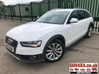 USED 2012 12 AUDI A4 ALLROAD 2.0 ALLROAD TDI QUATTRO S/S 5d 174 BHP BLUETOOTH FSH 4WD. STUNNING WHITE WITH BLACK CLOTH TRIM. STOP/START. CRUISE CONTROL. 18 INCH ALLOYS. COLOUR CODED TRIMS. PARKING SENSORS. BLUETOOTH PREP. CLIMATE CONTROL WITH AIR CON. TRIP COMPUTER. R/CD PLAYER. MFSW. ROOF BARS. MOT 11/19. SERVICE HISTORY. PRESTIGE SUV CENTRE LS24 8EJ. TEL 01937 849492 OPTION 1