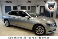 USED 2016 16 VOLKSWAGEN PASSAT 2.0 SE BUSINESS TDI BLUEMOTION TECH DSG 4d AUTO 148 BHP FINISHED IN STUNNING SILVER WITH BLACK CLOTH SEATS + FULL SERVICE HISTORY + SATELITE NAVIGATION + AIR CONDITIONING + CLIMATE CONTROL + CRUISE CONTROL + HEATED SEATS + DAB RADIO + HEATED WINDSCREEN + PARKING SENSORS...