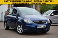 USED 2007 07 VAUXHALL ZAFIRA 1.6 CLUB 16V 5d 105 BHP PART EXCHANGE TO CLEAR, PRICE INCLUDES 12 MONTHS MOT. This is a 2007 Vx Zafira 1.6 Club 7 seat in blue metallic with just 73000 miles. 3 keepers from new, 2 keys and details of 6 services in the service book.