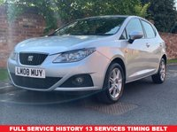 USED 2008 08 SEAT IBIZA 1.4 SE 5d 85 BHP FULL SERVICE HISTORY 13 SERVICES, TIMNG BELT AND WATER PUMP, MOT MAY 20, EXCELLENT CONDITION, RADIO CD, E/WINDOWS, R/LOCKING, FREE WARRANTY, FINANCE AVAILABLE, HPI CLEAR, PART EXCHANGE WELCOME,