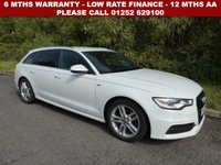 USED 2013 63 AUDI A6 2.0 AVANT TDI S LINE 5d 175 BHP All retail cars sold are fully prepared and include - Oil & filter service, 6 months warranty, minimum 6 months Mot, 12 months AA breakdown cover, HPI vehicle check assuring you that your new vehicle will have no registered accident claims reported, or any outstanding finance, Government VOSA Mot mileage check. Because we are an AA approved dealer, all our vehicles come with free AA breakdown cover and a free AA history check.. Low rate finance available. Up to 3 years warranty available.