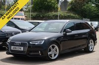 USED 2016 16 AUDI A4 2.0 AVANT TDI S LINE 5d AUTO 188 BHP ELECTRIC TAILGATE, BLUETOOTH