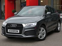USED 2015 15 AUDI Q3 2.0 TDI QUATTRO S LINE 5d 185 S/S UPGRADE COMFORT PACK INCLUDING PARKING SYSTEM PLUS CRUISE CONTROL AUTO DIMMING REAR VIEW MIRROR & HIGH BEAM ASSIST, 185 BHP, FRONT & REAR PARKING SENSORS, ELECTRIC HEATED POWER FOLDING DOOR MIRRORS, DAB RADIO, BLUETOOTH PHONE & MUSIC STREAMING, ELECTRIC TAILGATE, AUDI DRIVE SELECT, QUATTRO 4 WHEEL DRIVE, LED XENON LIGHTS, DIRECTIONAL SWEEPING INDICATORS, 18 INCH TWIN 5 SPOKE ALLOYS, ½ LEATHER INTERIOR, SPORT SEATS WITH ELECTRIC LUMBAR SUPPORT, AUTO LIGHTS, 1 OWNER FROM NEW, FULL SERVICE HISTORY