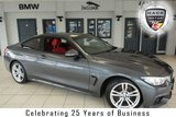 USED 2014 14 BMW 4 SERIES 2.0 420D M SPORT 2d 181 BHP FINISHED IN STUNNING MINERAL GREY WITH FULL RED LEATHER SEATS + EXCELLENT BMW SERVICE HISTORY + SATELLITE NAVIGATION + XENON HEADLIGHTS + 18 INCH ALLOYS + HEATED FRONT SEATS + DAB RADIO + CRUISE CONTROL + AIR CONDITIONING