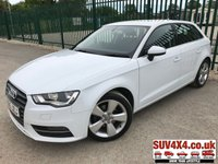 USED 2015 65 AUDI A3 1.6 TDI SPORT 5d AUTO 109 BHP ONE OWNER STUNNING WHITE WITH BLACK CLOTH SPORT TRIM. 17 INCH ALLOYS. COLOUR CODED TRIMS. BLUETOOTH PREP. CLIMATE CONTROL. R/CD PLAYER. MFSW. MOT 09/19. ONE OWNER FROM NEW. SERVICE HISTORY. SUV & 4X4 CAR CENTRE LS23 7FR. TEL 01937 849492. OPTION 2