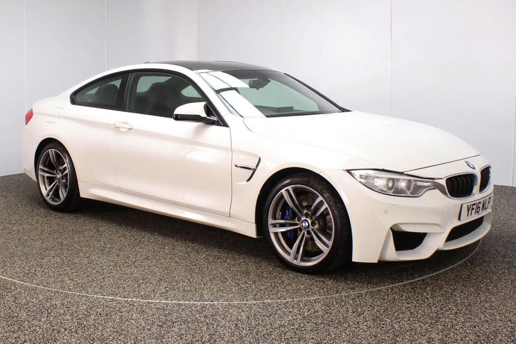 USED 2016 16 BMW M4 3.0 M4 2DR AUTO 426 BHP PRO SAT NAV HEATED LEATHER SEATS FULL BMW SERVICE HISTORY + HEATED MERINO LEATHER SEATS + SATELLITE NAVIGATION PROFESSIONAL + PARKING SENSOR + BLUETOOTH + CRUISE CONTROL + CLIMATE CONTROL + MULTI FUNCTION WHEEL + ELECTRIC/MEMORY SEATS + XENON HEADLIGHTS + PRIVACY GLASS + DAB RADIO + ELECTRIC WINDOWS + ELECTRIC MIRRORS + 19 INCH DOUBLE SPOKE GREY ALLOY WHEELS