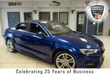 USED 2014 14 AUDI A3 1.6 TDI S LINE 4d 109 BHP FINSIHED IN STUNNING SCUBA BLUE WITH HALF BLACK LEATHER SEATS + FULL AUDI SERVICE HISTORY + XENON HEADLIGHTS + FREE ROAD TAX + 18 INCH ALLOYS + BLUETOOTH + DAB RADIO + REAR PARKING SENSORS + AIR CONDITIONING + FLAT BOTTOM S LINE STEERING WHEEL + LED DAYTIME LIGHTS + AUDI SERVICE PLAN ENDS 05/12/2020