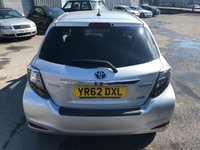 USED 2012 62 TOYOTA YARIS 1.5 T4 HYBRID 5d AUTO 75 BHP IN SILVER WITH SAT NAV AND REVERSING CAMERA AND 50000 MILES WITH A FULL SERVICE HISTORY APPROVED CARS ARE PLEASED TO OFFER THIS TOYOTA YARIS 1.5 T4 HYBRID 5d AUTO 75 BHP IN SILVER WITH SAT NAV,REVERSE CAMERA,ABS,AIR CON,PRIVACY GLASS,ALLOYS,CLIMATE CONTROL,2 KEYS AND MUCH MORE WITH A FULL TOYOTA SERVICE HISTORY/PROTECTION PACK SERVICED AT 8K,14K,20K,26K,35K AND 50K FROM NEW A STUNNING LITTLE HYBRID WITH SAT NAV MAKES THIS A VERY RARE CAR..FOR FURTHER DETAILS PLEASE CALL 01622-871-555.