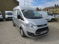 USED 2014 14 FORD TRANSIT CUSTOM 310 TREND 2.2TDCi 124 BHP L1 H2 HIGH ROOF VAN WITH AIR-CON! ONE COMPANY OWNER, ONLY 67000m - RARE L1 H2 TREND MODEL WITH AIR-CON