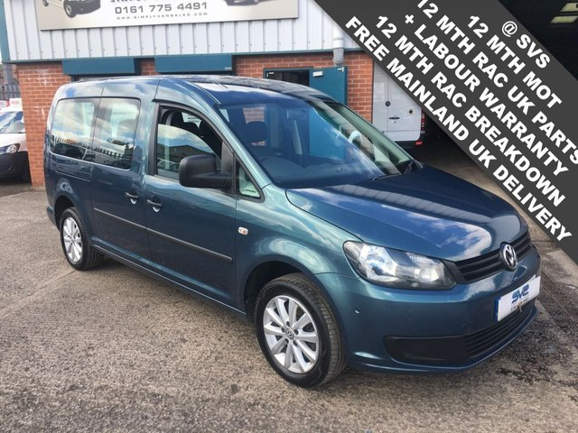 USED 2015 15 VOLKSWAGEN CADDY MAXI C20 TDI KOMBI 2.0TDI  6 SPEED 140BHP FACTORY KOMBI / CREW VAN RARE COLOUR + SPEC