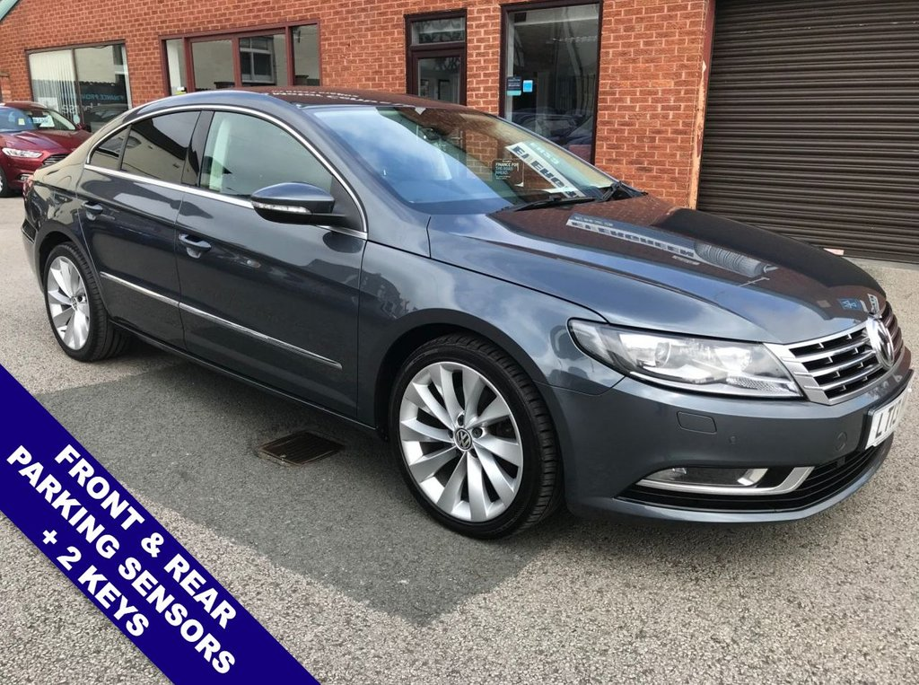 """USED 2013 13 VOLKSWAGEN CC 2.0 GT TDI BLUEMOTION TECHNOLOGY DSG 4DOOR 138 BHP DAB Radio : Sat Nav : USB & AUX Sockets : Automatic Headlights : Cruise Control  Bluetooth Connectivity             :          Heated Front Seats           :           Electric Driver Seat     Full Black Leather Upholstery : Remotely Operated Tailgate : Front & Rear Parking Sensors   18"""" Alloy Wheels : 2 Keys"""
