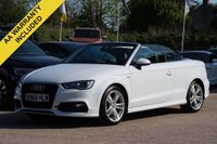 USED 2015 65 AUDI A3 1.4 TFSI S LINE 2d 148 BHP CONVERTIBLE HEATED SEATS, AIR SCARF + FULL SERVICE HISTORY