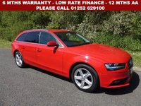 USED 2013 13 AUDI A4 2.0 AVANT TDI SE TECHNIK 5d AUTO 141 BHP All retail cars sold are fully prepared and include - Oil & filter service, 6 months warranty, minimum 6 months Mot, 12 months AA breakdown cover, HPI vehicle check assuring you that your new vehicle will have no registered accident claims reported, or any outstanding finance, Government VOSA Mot mileage check. Because we are an AA approved dealer, all our vehicles come with free AA breakdown cover and a free AA history check.. Low rate finance available. Up to 3 years warranty available.