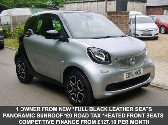 2016 SMART FORTWO 1.0 Prime Premium In Silver / Black With Full Black Leather  £6995.00