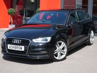 USED 2014 14 AUDI A3 SPORTBACK 2.0 TDI S LINE 5d 185 S/S FULL SERVICE HISTORY, CAMBELT & WATER PUMP CHANGED, £20 ROAD TAX, 185 BHP, DAB RADIO, BLUETOOTH PHONE & MUSIC STREAMING, AUDI MUSIC INTERFACE (AMI), LED DAYTIME RUNNING LIGHTS, XENON HEADLIGHTS, 18 INCH TWIN 5 SPOKE ALLOY WHEELS, FRONT FOG LIGHTS, LEATHER FLAT BOTTOM MULTI FUNCTION STEERING WHEEL, BLACK 1/2 LEATHER INTERIOR, SPORT SEATS, DUAL CLIMATE AIR CONDITIONING, AUDI DRIVE SELECT, ELECTRIC WINDOWS, ILLUMINATING VANITY MIRRORS, CD HIFI WITH SD CARD READERS, LEATHER ARM REST