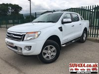USED 2014 14 FORD RANGER 2.2 LIMITED 4X4 DCB TDCI 1d AUTO 148 BHP LEATHER SIDE STEPS CHROME BARS (COMMERCIAL £11400 + 2280 VAT). REAR LOAD COVER. CHROME BARS. STUNNING WHITE WITH BLACK LEATHER TRIM. ELECTRIC HEATED SEATS. CRUISE CONTROL. SIDE STEPS. CLIMATE CONTROL WITH AIR CON. 17 INCH ALLOYS. COLOUR CODED TRIMS. PRIVACY GLASS. PARKING SENSORS. BLUETOOTH PREP. PAS. R/CD PLAYER. MFSW. TOWBAR. MOT 05/20. SERVICE HISTORY. PRESTIGE SUV CENTRE LS24 8EJ TEL 01937 849492 OPTION 1
