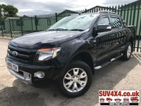 USED 2015 65 FORD RANGER 3.2 WILDTRAK 4X4 DCB TDCI 1d 197 BHP SAT NAV LEATHER REAR LOAD COVER (COMMERCIAL £14900 + 2980 VAT). REAR LOAD COVER. STUNNING BLACK MET WITH FULL BLACK LEATHER TRIM. ELECTRIC HEATED SEATS. CRUISE CONTROL. SIDE STEPS. CLIMATE CONTROL WITH AIR CON. 18 INCH ALLOYS. COLOUR CODED TRIMS. PRIVACY GLASS. PARKING SENSORS. CARGO LINING. BLUETOOTH PREP. PAS. R/CD PLAYER. MFSW. TOWBAR. MOT 10/19. SERVICE HISTORY. PRESTIGE SUV CENTRE LS24 8EJ TEL 01937 849492 OPTION 1