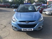 USED 2012 12 HYUNDAI IX35 1.7 PREMIUM CRDI 5d 114 BHP IN METALLIC BLUE WITH 72000 MILES WITH SAT NAV AND A GREAT SPEC. APPROVED CARS ARE PLEASED TO OFFER THIS  HYUNDAI IX35 1.7 PREMIUM CRDI 5d 114 BHP IN METALLIC BLUE WITH 72000 MILES WITH A HUGH SPEC INCLUDING Electric roof, Power steering, Electric windows, Alloy wheels, Sat Nav, Bluetooth, Heated seats, CD player, (Half) Leather, Central locking, Metallic paint, Climate control, 2 Keys +, Parking Sensors (rear), Rear Camera, Electric Folding Mirrors with a full service history serviced at 11k,19k,27k,34k,46k,69k.A great looking driving IX35 with everything yo