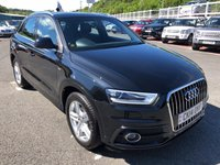 USED 2014 14 AUDI Q3 2.0 TDI S LINE 5d 138 BHP Phantom Black, Black leather, DAB & Bluetooth. Just serviced