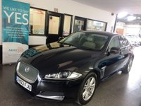 USED 2013 63 JAGUAR XF 2.2 D LUXURY 4d AUTO 163 BHP Two owners, full service history, October Mot. Fitted with Sat Nav, Bluetooth, reverse camera and Meridian sound. Finished in Ebony Black with full Beige leather seats.