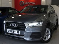 USED 2016 65 AUDI Q3 2.0 TDI SE 5d 150 S/S ULL AUDI SERVICE HISTORY, 1 OWNER FROM NEW, £30 ROAD TAX (117 G/KM), UPGRADE COMFORT PACK INCLUDING PARKING SYSTEM PLUS FRONT & REAR SENSORS CRUISE CONTROL AUTO DIMMING REAR VIEW MIRROR & HIGH BEAM ASSIST, DAB RADIO, BLUETOOTH PHONE & MUSIC STREAMING, AUDI DRIVE SELECT, LED DAYTIME RUNNING LIGHTS, XENON HEADLIGHTS, AUTO LIGHTS & WIPERS, AUDI MUSIC INTERFACE, DUAL CLIMATE AIR CON, SPORT SEATS WITH ELECTRIC LUMBAR SUPPORT, LEATHER MULTIFUNCTION STEERING WHEEL