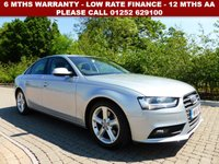 USED 2015 15 AUDI A4 2.0 TDI TECHNIK 4d 134 BHP All retail cars sold are fully prepared and include - Oil & filter service, 6 months warranty, minimum 6 months Mot, 12 months AA breakdown cover, HPI vehicle check assuring you that your new vehicle will have no registered accident claims reported, or any outstanding finance, Government VOSA Mot mileage check. Because we are an AA approved dealer, all our vehicles come with free AA breakdown cover and a free AA history check.. Low rate finance available. Up to 3 years warranty available.