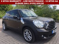 USED 2016 66 MINI PACEMAN 1.6 COOPER ALL4 3d 121 BHP All retail cars sold are fully prepared and include - Oil & filter service, 6 months warranty, minimum 6 months Mot, 12 months AA breakdown cover, HPI vehicle check assuring you that your new vehicle will have no registered accident claims reported, or any outstanding finance, Government VOSA Mot mileage check. Because we are an AA approved dealer, all our vehicles come with free AA breakdown cover and a free AA history check.. Low rate finance available. Up to 3 years warranty available.