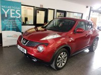 USED 2013 13 NISSAN JUKE 1.6 TEKNA 5d AUTO 117 BHP Fully automatic, finished in metallic force red with heated black leather trim. This Juke has a huge specification including Nissan Satellite Navigation, bluetooth phone, reverse camera, full heated leather, power fold mirrors, cruise control, auto lights, USB/Aux ports and much more. Its servicing has been done at 6922/12514/18621/23973/27324/28711 miles. Supplied with an April 2020 MOT, 6 months RAC warranty which is extendable, 12 months breakdown assistance and a service.
