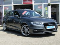 USED 2014 64 AUDI A3 2.0 TDI S LINE 5d AUTO 148 BHP STUNNING, £30 ROAD TAX, AUDI A3 2.0 TDI S/LINE, AUTO 150 BHP. Finished in DAYTONA GREY PEARL with contrasting PART LEATHER trim. This fantastic facelift model combines a great interior with a refined driving experience. Features include Sat Nav, DAB radio, Rear Park Sensors, B/Tooth Cruise Control, Part Leather and much more. DERBY AUDI DEALER serviced at 4426 miles, 19958 miles and recently by EMC. Comes with 12 months MOT.