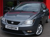 USED 2015 65 SEAT IBIZA 1.4 TOCA 3d 85 BHP SEAT PORTABLE SAT NAV, BLUETOOTH, REAR PARKING SENSORS, MANUAL 5 SPEED GEARBOX, FRONT FOG LIGHTS, 16 INCH 10 SPOKE ALLOY WHEELS, GREY CLOTH INTERIOR, AIR CONDITIONING, ELECTRIC WINDOWS, ELECTRIC DOOR MIRRORS, DIS TRIP COMPUTER, ISO FIX CHILD SEAT MOUNTS, AUX INPUT, CD HIFI, LEATHER STEERING WHEEL, STEERING COLUMN REMOTE CONTROLS, NON SMOKING PACK, VANITY MIRRORS, AIRBAGS WITH PASSENGER OFF FUNCTION, REMOTE CENTRAL LOCKING, TYRE PRESSURE MONITORING SYSTEM, SERVICE HISTORY, VAT QUALIFYING