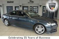 USED 2016 65 AUDI A6 2.0 TDI ULTRA S LINE 4d AUTO 188 BHP FINISHED IN STUNNING BLUE WITH FULL BLACK LEATHER SEATS + EXCELLENT AUDI SERVICE HISTORY + SATELLITE NAVIGATION + LED FRONT/REAR DAYTIME LIGHTS + £20 ROAD TAX +  BLUETOOTH + HEATED FRONT/REAR SEATS + DRIVER MEMORY SEAT + 18 INCH ALLOYS + CRUISE CONTROL + DAB RADIO + AIR CONDITIONING